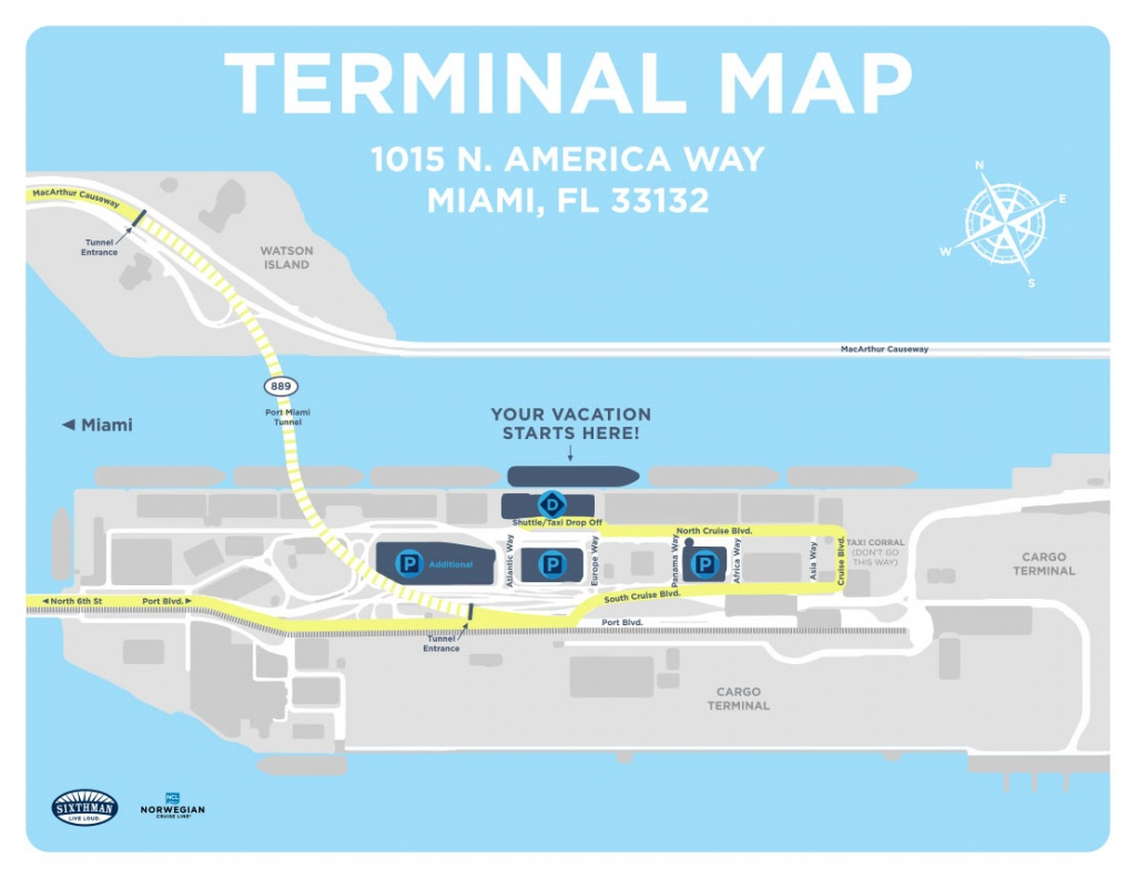 Port Of Miami Map And Travel Information | Download Free Port Of - Map Of Cruise Ports In Florida