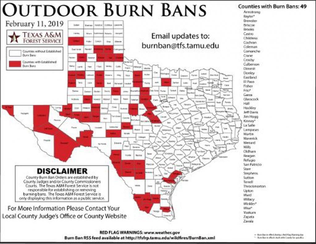Potter, Hemphill Counties Now Under Burn Ban - Texas Burn Ban Map