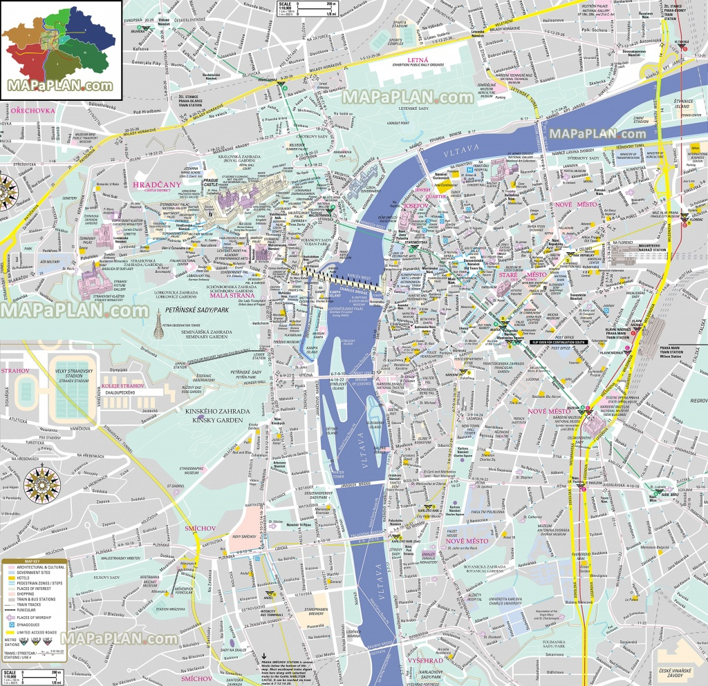Prague Maps - Top Tourist Attractions - Free, Printable City Street Map - Free Printable City Street Maps