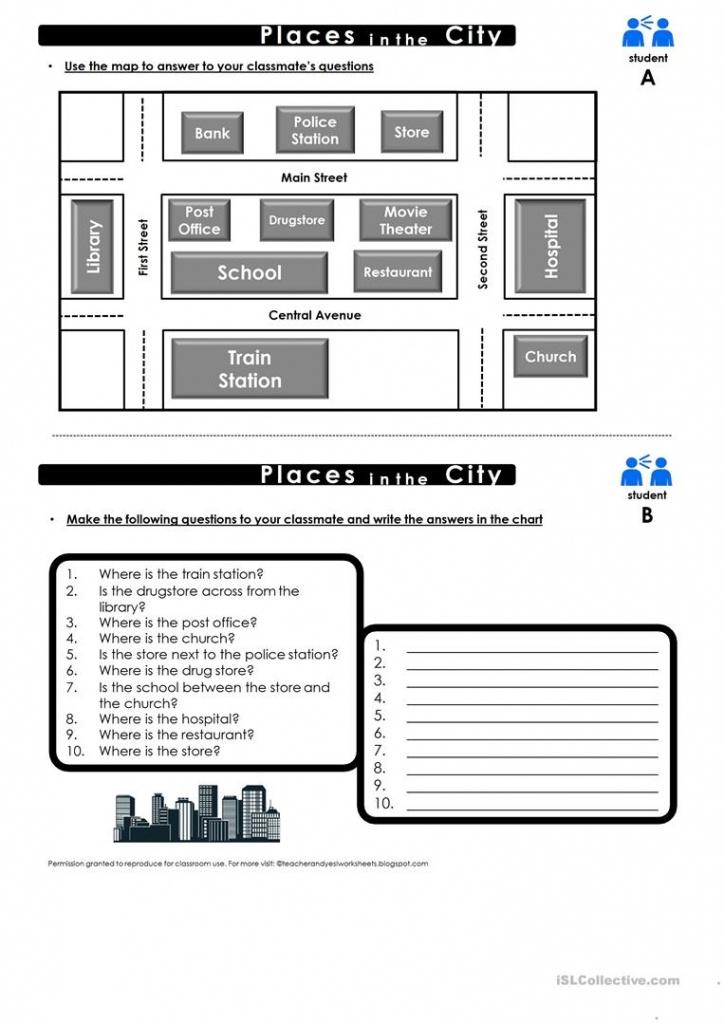 Prepositions Of Place Map Practice Worksheet - Free Esl Printable - Printable Map Activities