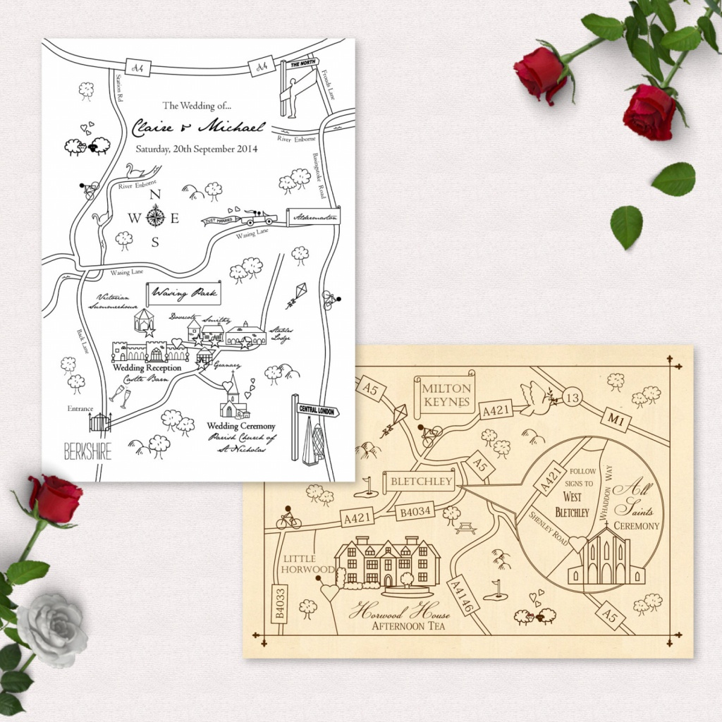 Printable Custom Map Wedding Invitation, Save The Date Or Info Card | Party  Map | Travel | Invitation Map | Wedding Directions | Digital - How To Create A Printable Map For A Wedding Invitation