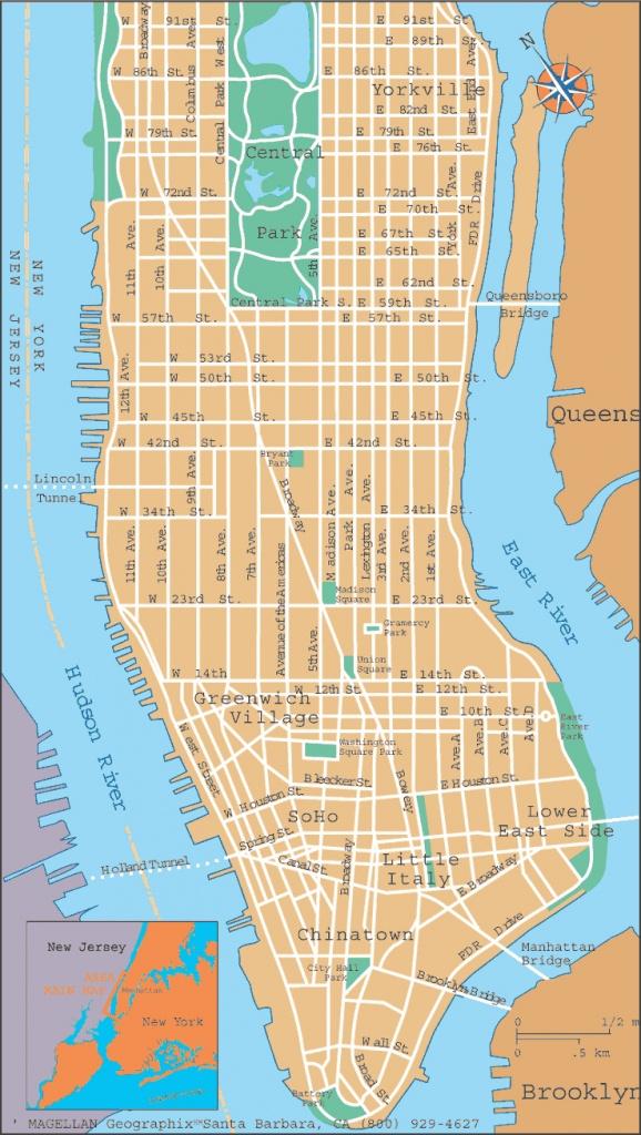 Printable Manhattan Street Map - Capitalsource - Printable Street Map Of Manhattan