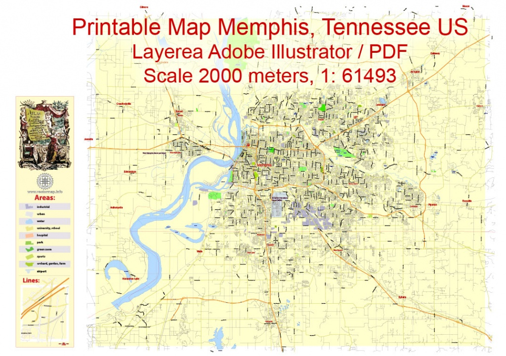 Printable Map Memphis, Tennessee Us, Exact Vector City Plan Illustrator - Memphis City Map Printable