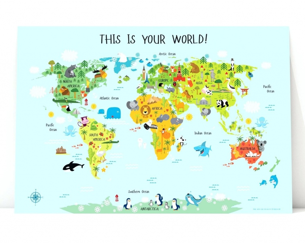 Printable Map Of Asia World For Kids Instant Download Nursery Decor - Kid Friendly World Map Printable