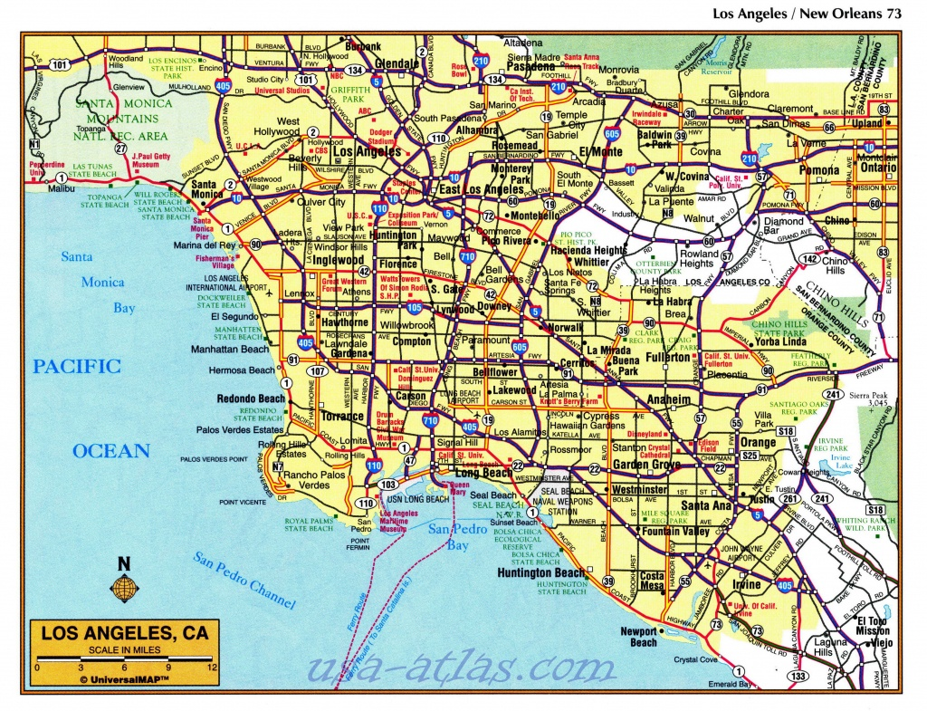 Printable Map Of Downtown Los Angeles And Travel Information - Los Angeles Freeway Map Printable