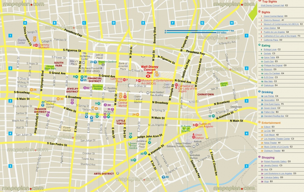 Printable Map Of Downtown Los Angeles And Travel Information - Los Angeles Tourist Map Printable