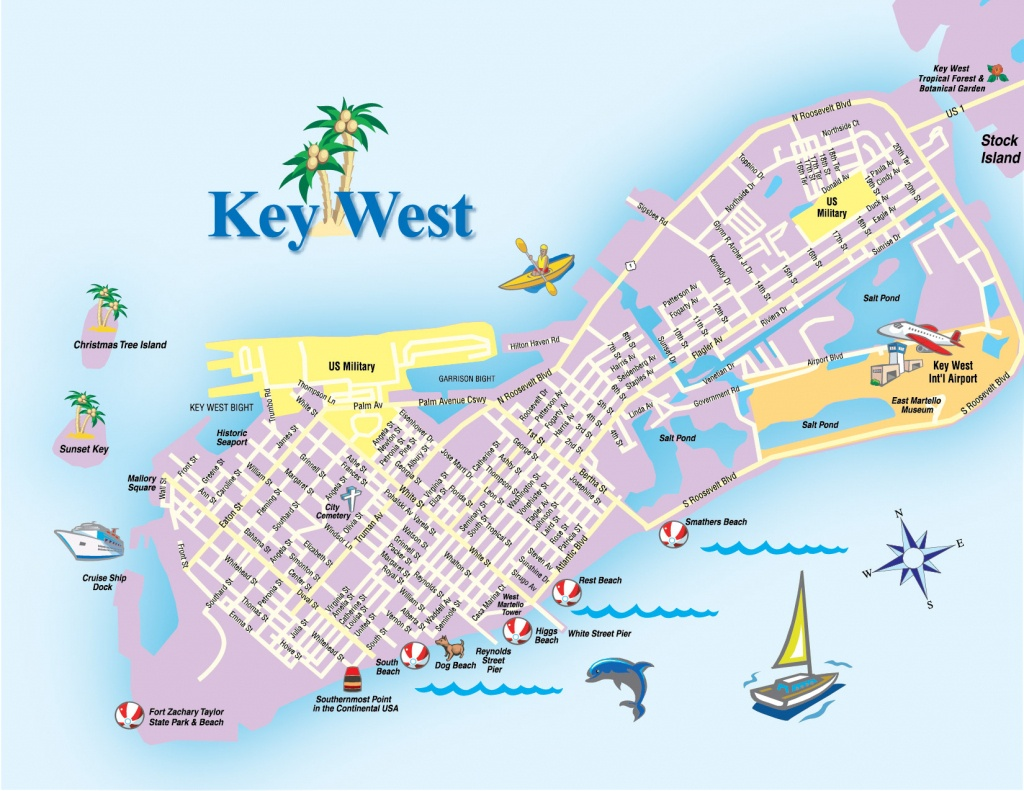 Printable Map Of Key West Florida Streets Hotels Area Attractions Pdf - Key West Florida Map Of Hotels
