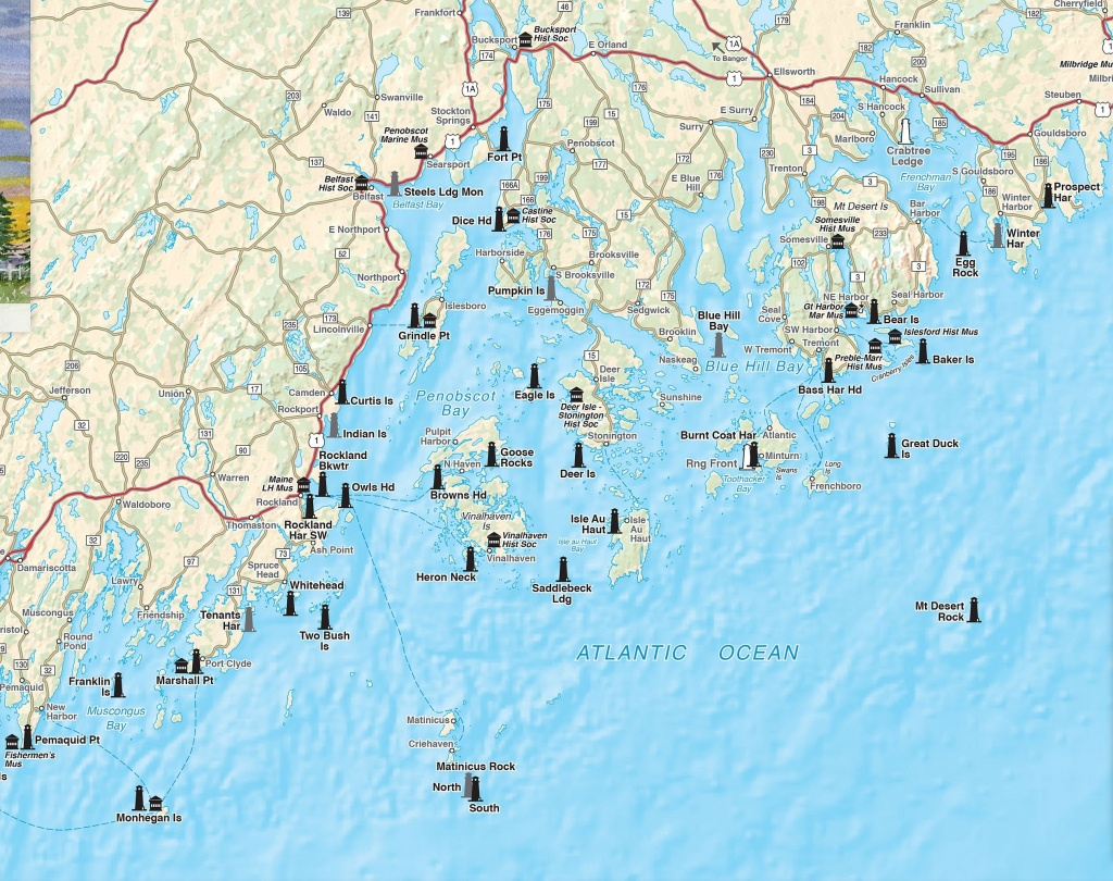 Printable Map Of Maine Lighthouses   Time Zones Map - Printable Map Of Maine Lighthouses