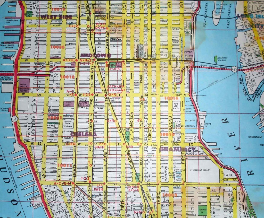 Printable Map Of Manhattan Nyc: New York City Manhattan Street Map - Printable Street Map Of Midtown Manhattan