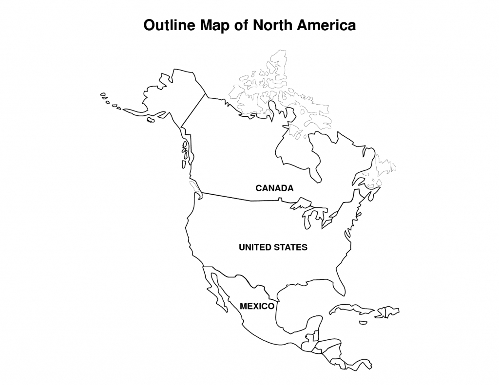 Printable Map Of North America   Pic Outline Map Of North America - North America Political Map Printable