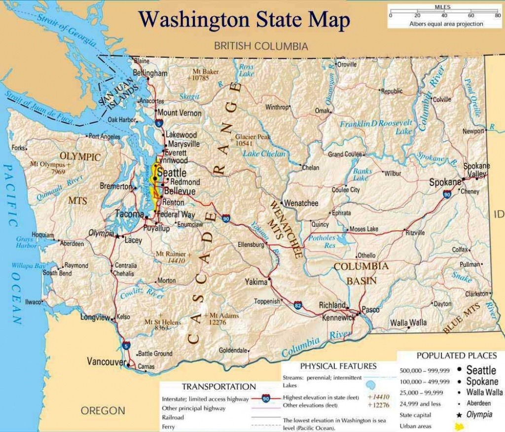 Printable Map Of Washington State And Travel Information   Download - Free Printable Map Of Washington State