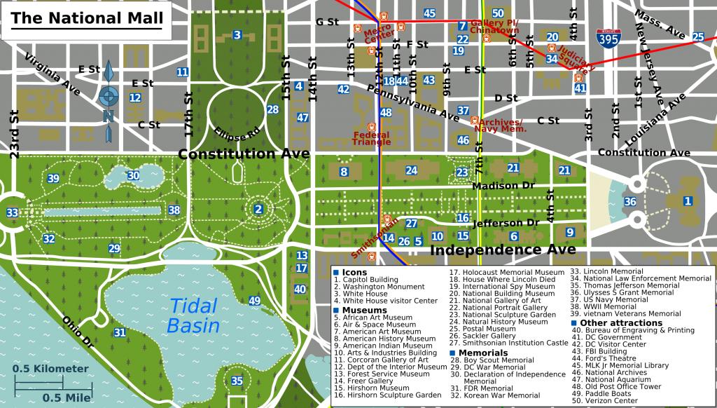 Printable Map Washington Dc   National Mall Map - Washington Dc - Printable Map Of Washington Dc Sites