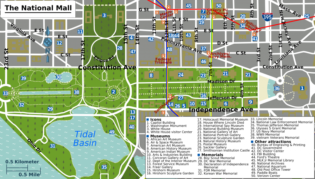 Printable Map Washington Dc | National Mall Map - Washington Dc - Printable Walking Map Of Washington Dc