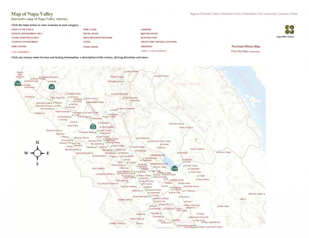 Printable Napa Wine Map | Map Of Napa Valley Interactive Map Of Napa - Napa Winery Map Printable