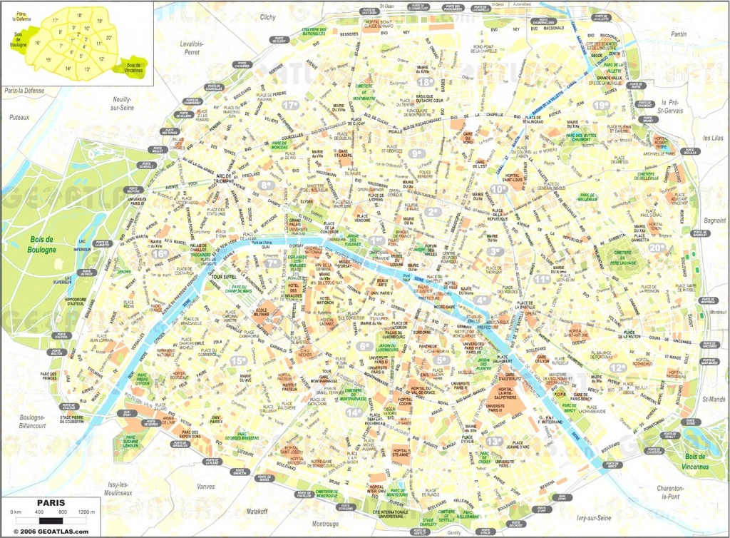 Printable Paris Street Map - Capitalsource - Street Map Of Paris France Printable