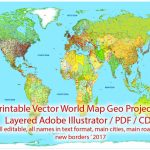 Printable Pdf Vector World Map Colored Political Updated 2017 Editable   World Map With Cities Printable