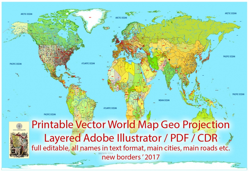 Printable Pdf Vector World Map Colored Political Updated 2017 Editable - World Map With Cities Printable