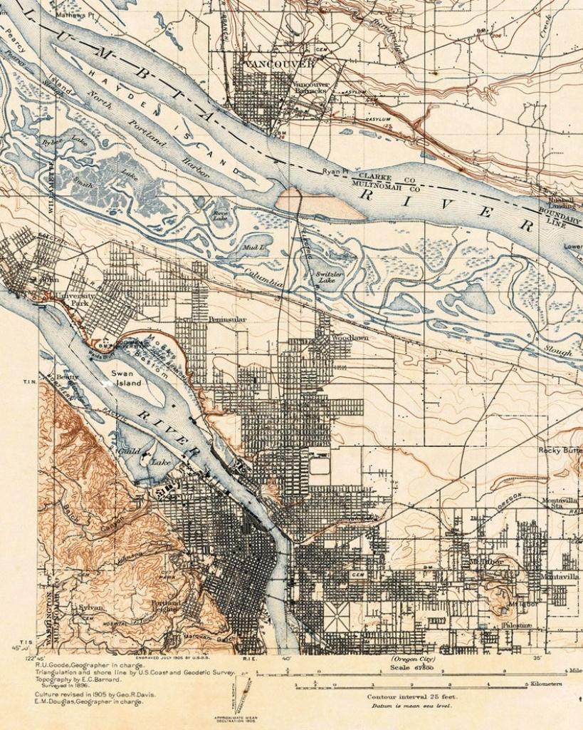 Printable Portland Oregon Map / Downloadable Map Of Portland | Etsy - Printable Map Of Portland Oregon