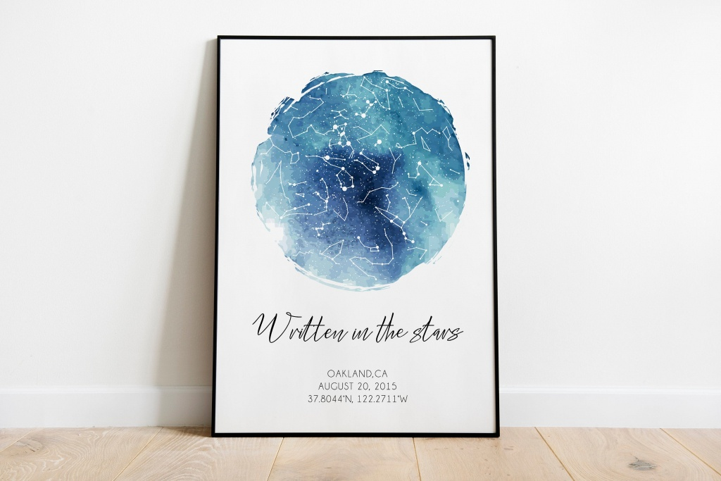 Printable Sky Map Custom Star Map Constellation Map Star | Etsy - Printable Sky Map