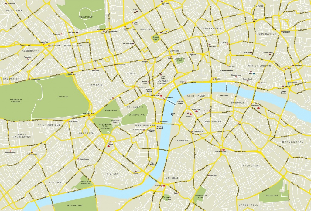 Printable Street Map Of Central London Within - Capitalsource - Printable Street Map Of London