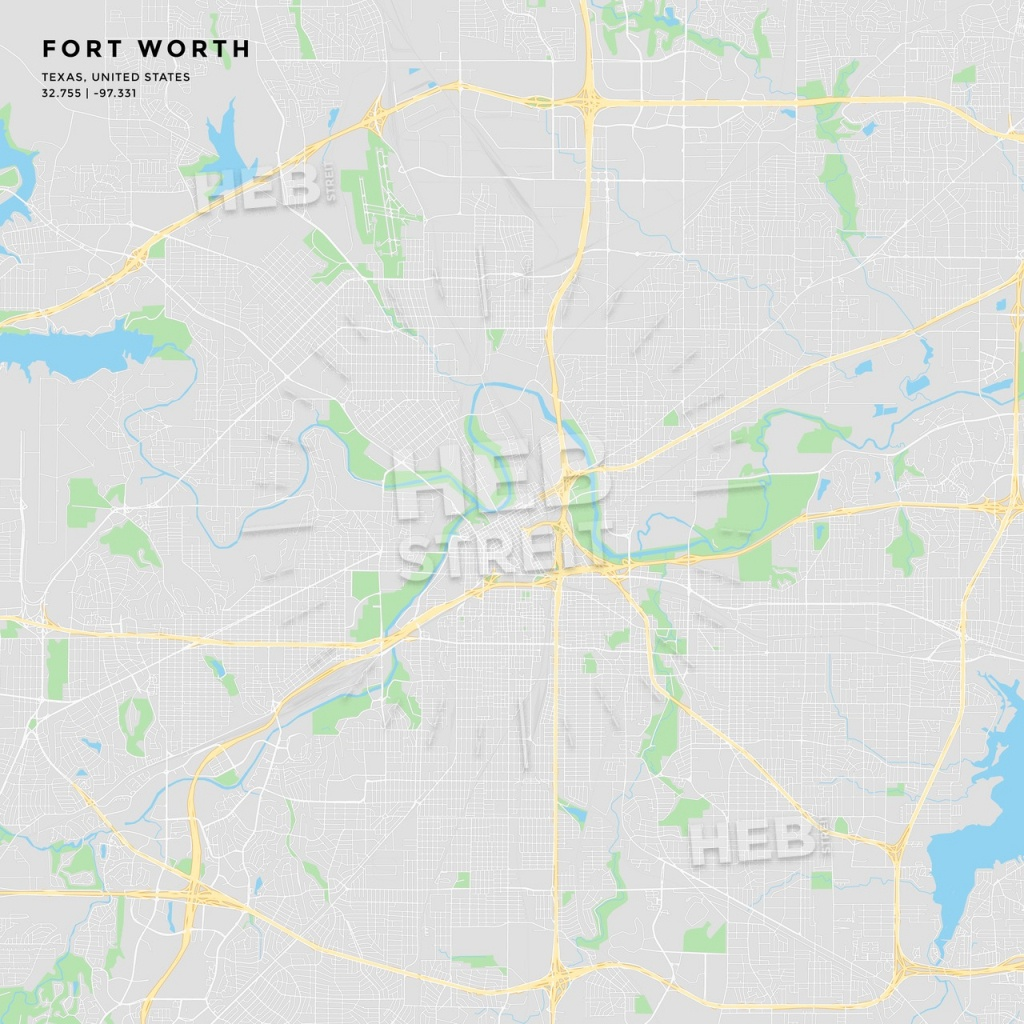 Printable Street Map Of Fort Worth, Texas | Hebstreits Sketches - Printable Map Of Fort Worth Texas