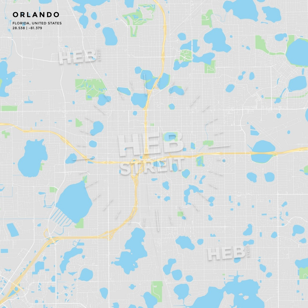 Printable Street Map Of Orlando, Florida - Street Map Of Orlando Florida
