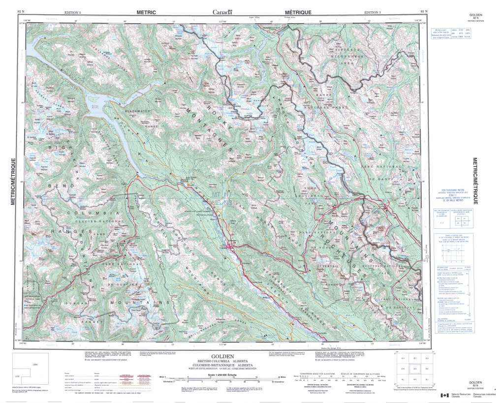 Printable Topographic Map Of Golden 082N, Ab - Free Printable Topographic Maps