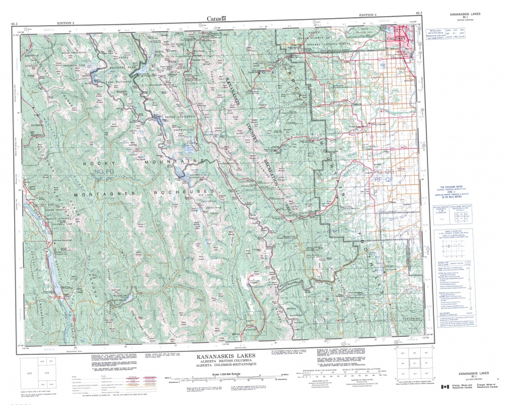 Printable Topographic Map Of Kananaskis Lakes 082J, Ab - Printable Topographic Maps Free