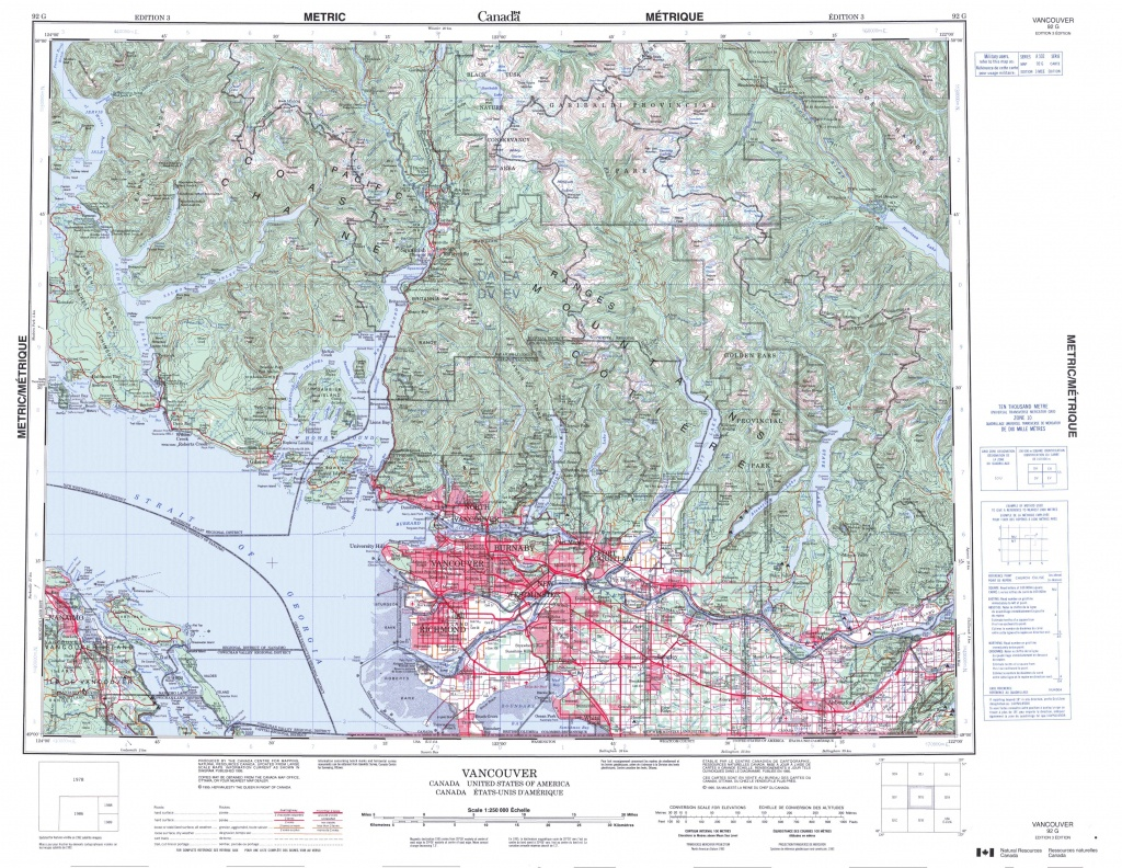 Printable Topographic Map Of Vancouver 092G, Bc - Printable Topographic Map