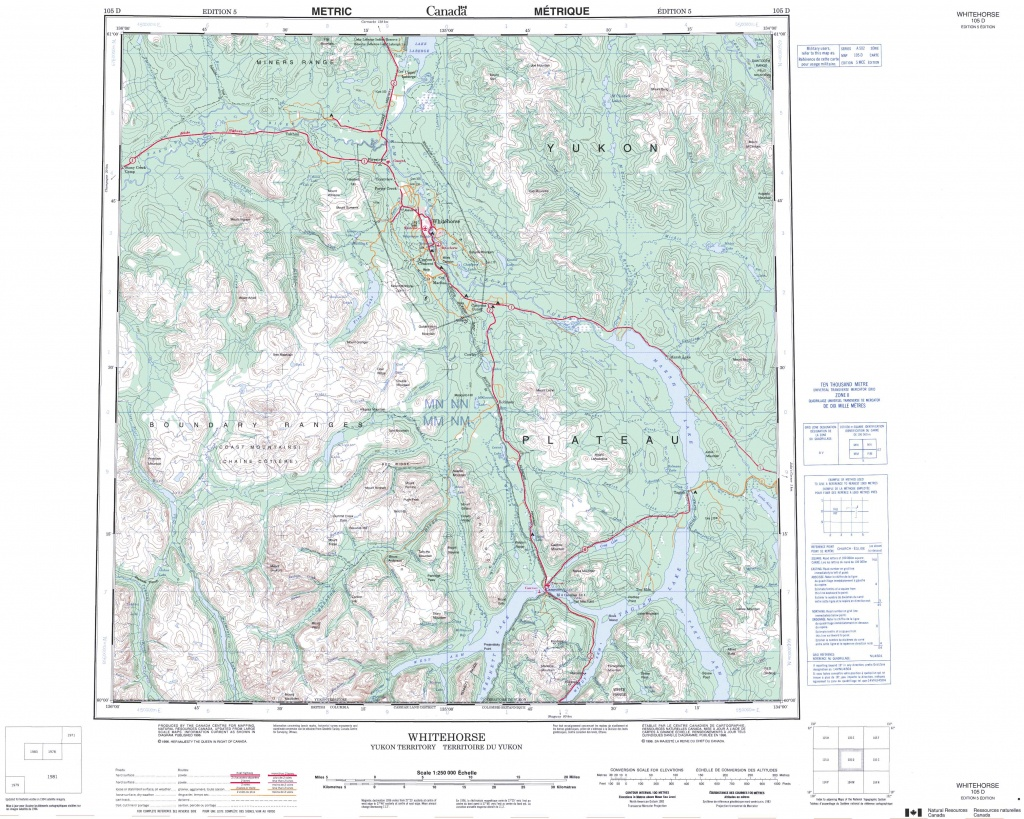 Printable Topographic Map Of Whitehorse 105D, Yk - Printable Topographic Maps