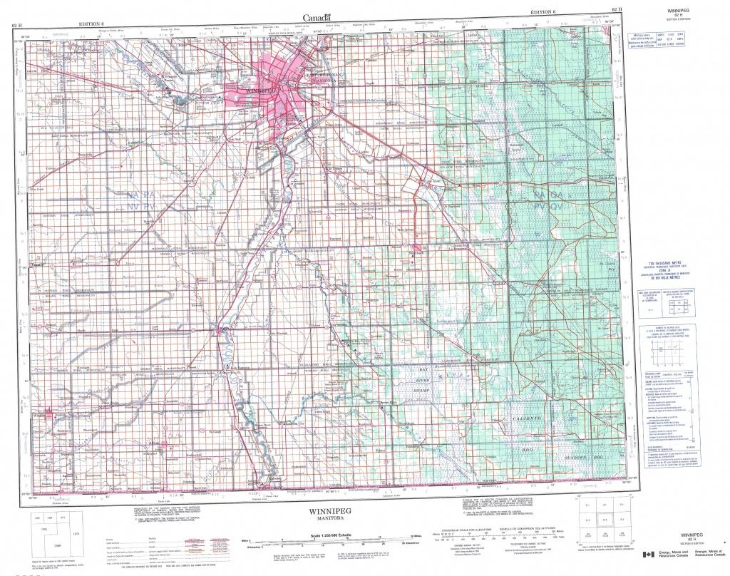 Printable Topographic Map Of Winnipeg 062H, Mb - Printable Topographic Maps