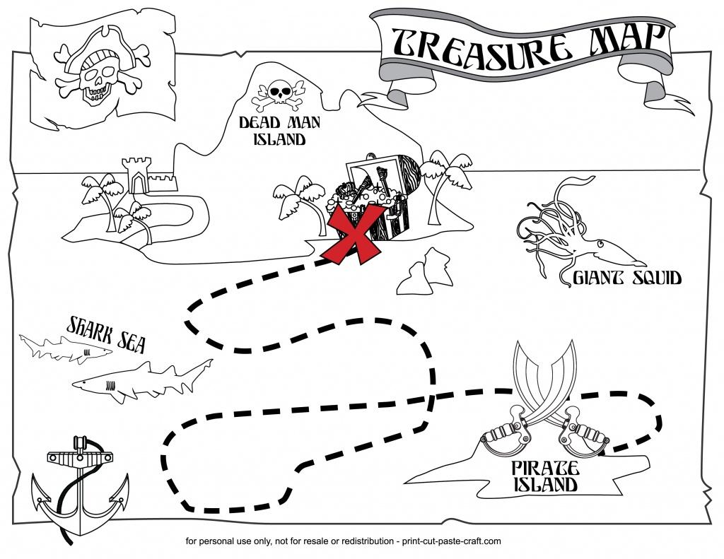 Printable Treasure Map   Print, Cut, Paste, Craft! - Printable Neverland Map