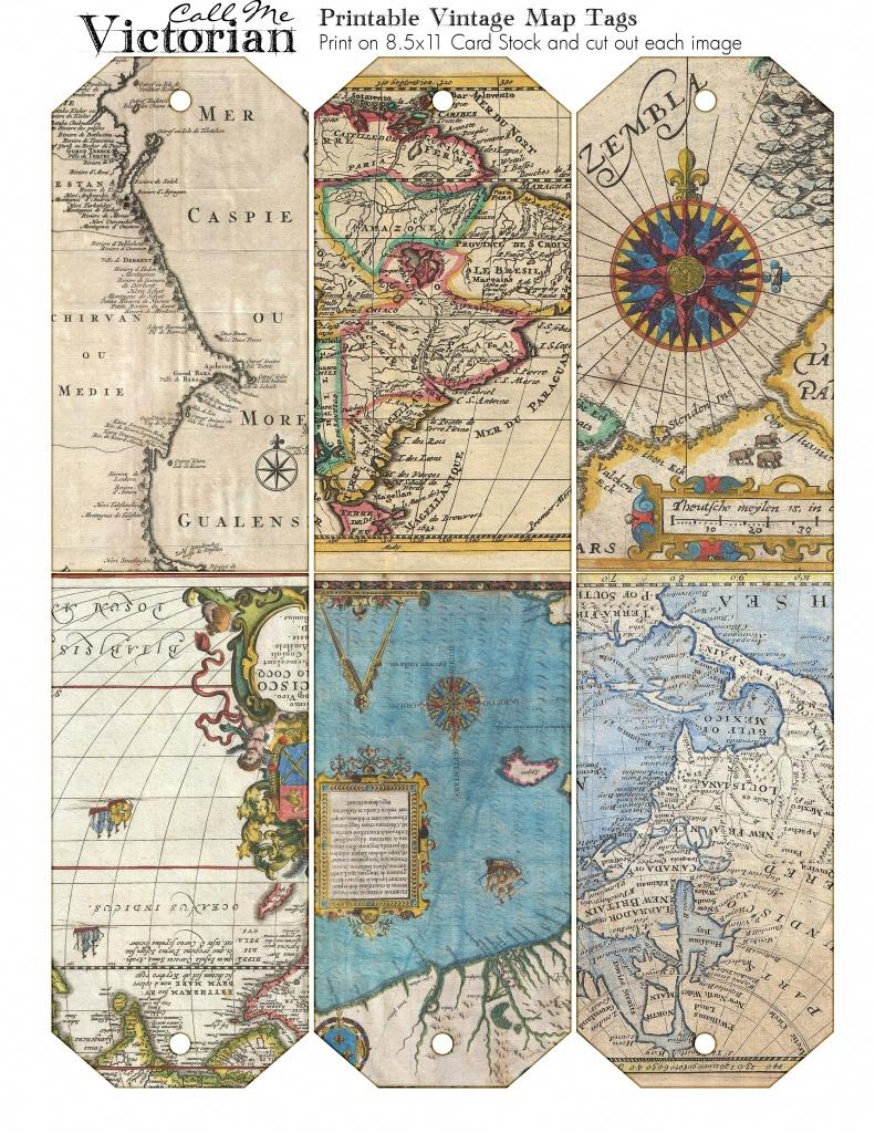 Printable Vintage Map Tags   Call Me Victorian - Free Printable Maps