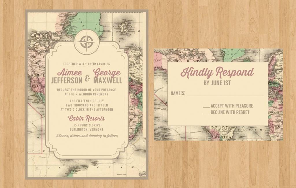 Printed Or Printable Pdf Vintage Map Invitation And Rsvp | Etsy - Printable Maps For Wedding Invitations Free