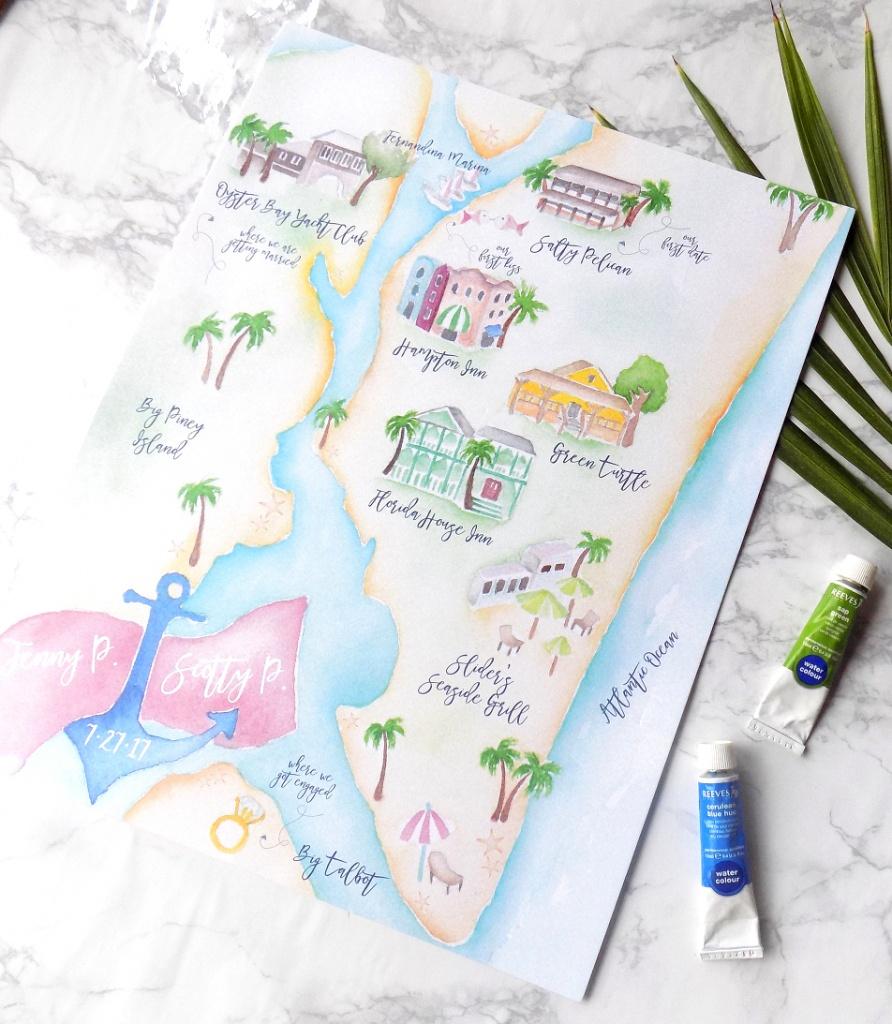 Project Highlight: Amelia Island Wedding Map » Bohemian Mint - Amelia Island Florida Map