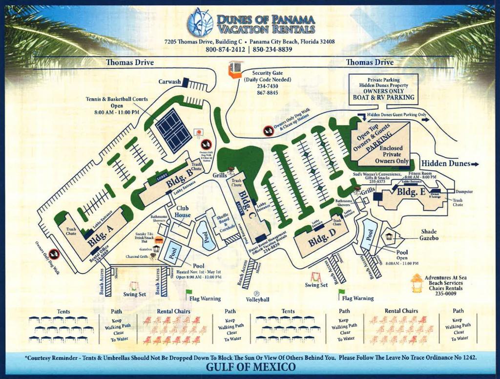 Property Map For Vacation Beach Condos   Dunes Of Panama - Panama Beach Florida Map