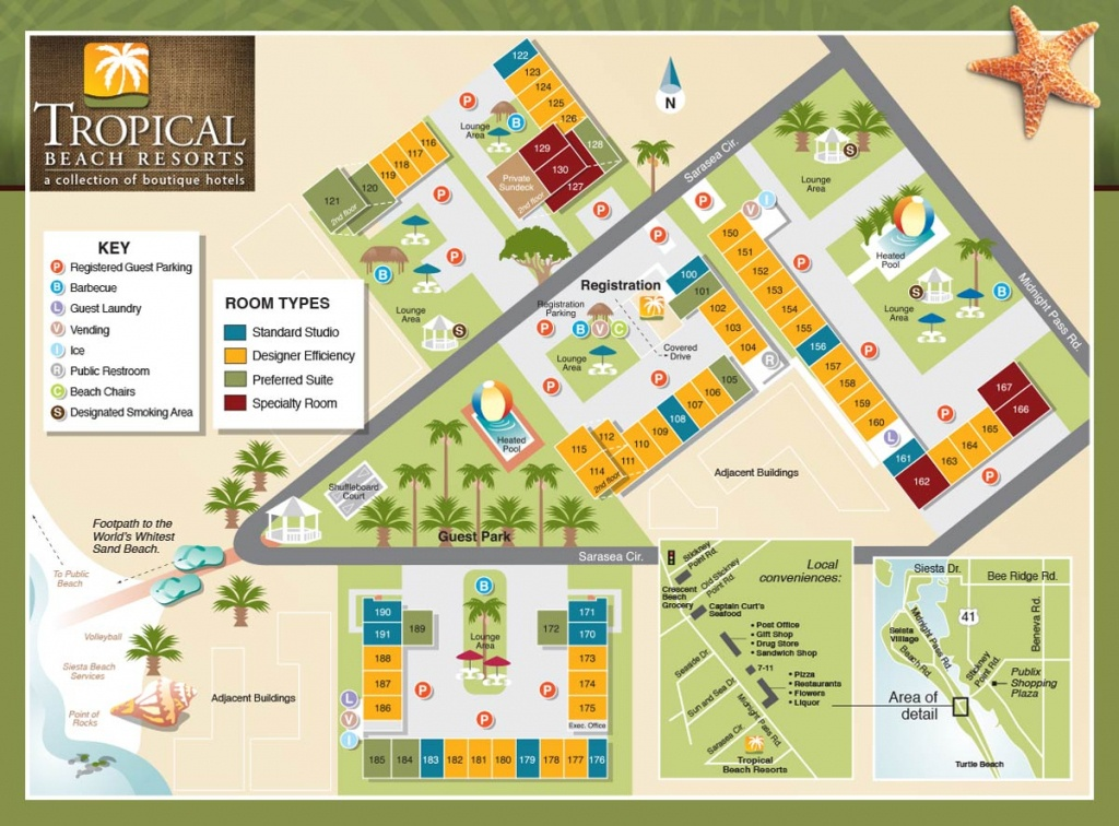 Property Map - Tropical Beach Resorts, Siesta Key Fl - Siesta Key Beach Florida Map