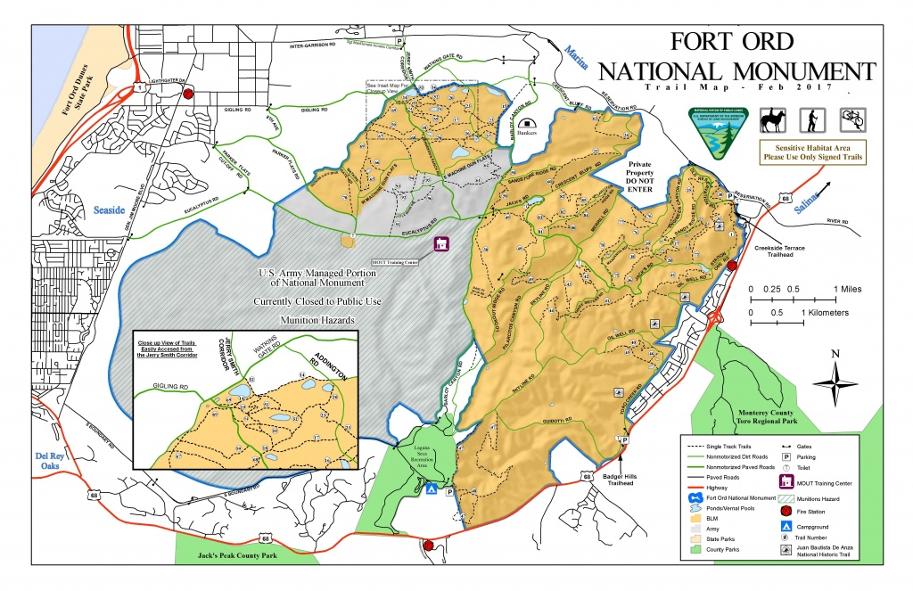 Public Room: California: Fort Ord National Monument Trail Map - California Public Hunting Land Map