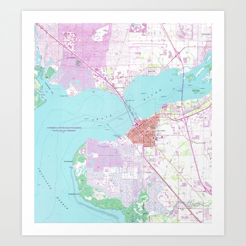Punta Gorda & Port Charlotte Florida Map (1957) Art Print - Punta Gorda Florida Map