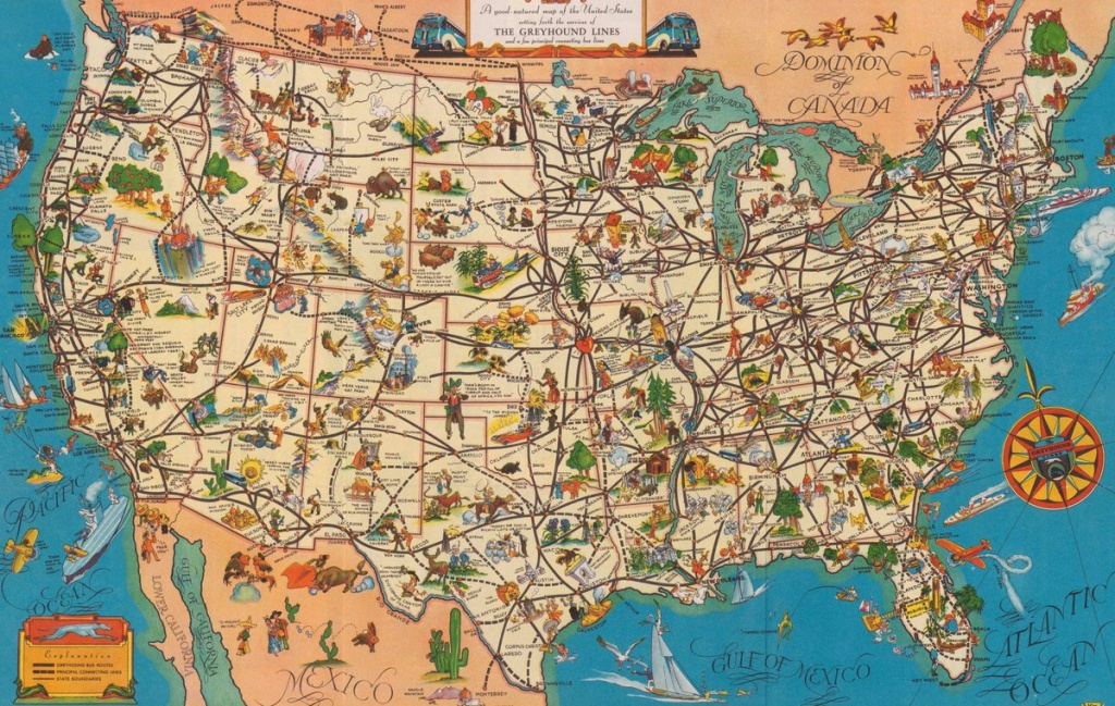 """Quite Interesting On Twitter: """"a 1935 'good-Natured Map' Of - Greyhound Map California"""