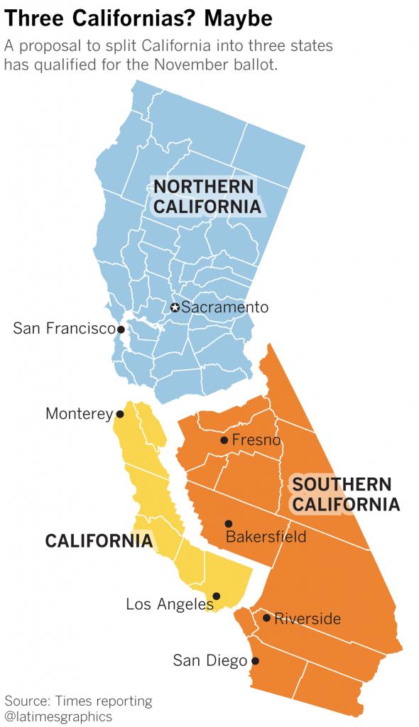 Radical Plan To Split California Into Three States Earns Spot On - Three State California Map