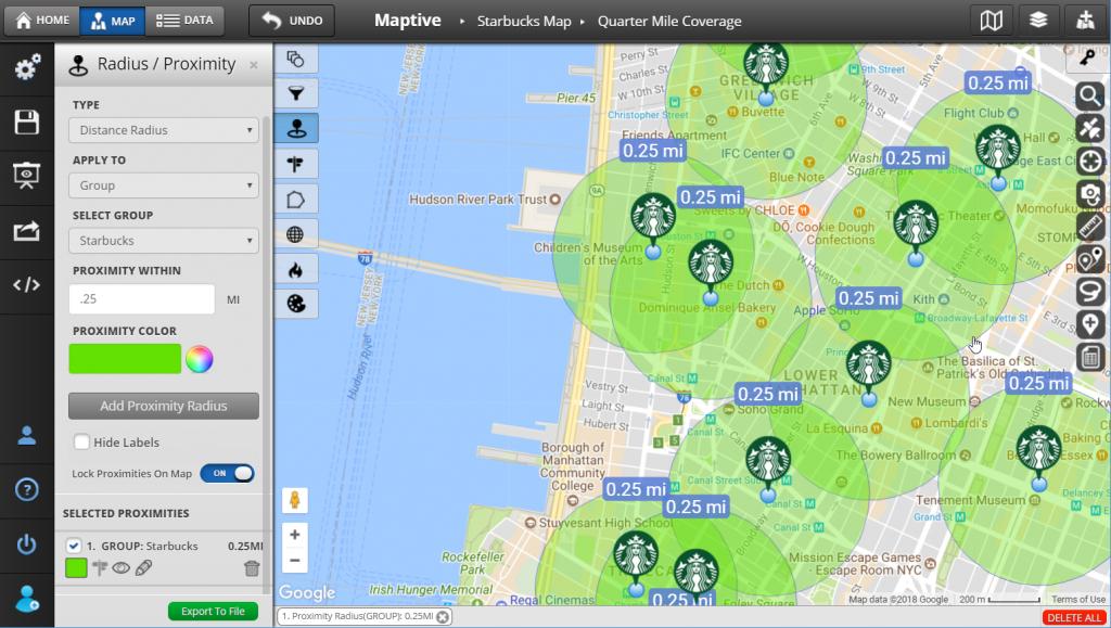 Radius Map And Proximity Tool - Maptive - Printable Radius Map