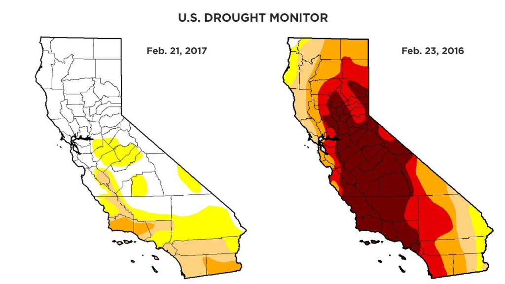 Rainy Season Helps Get California Out Of Extreme Drought Category - California Drought Map 2017