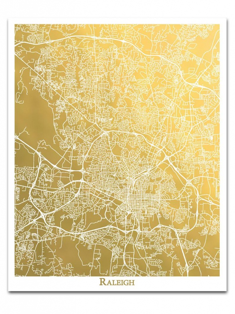 Raleigh Map Gold Foil Print City Map Of Raleigh Nc Map   Etsy - Printable Map Of Raleigh Nc