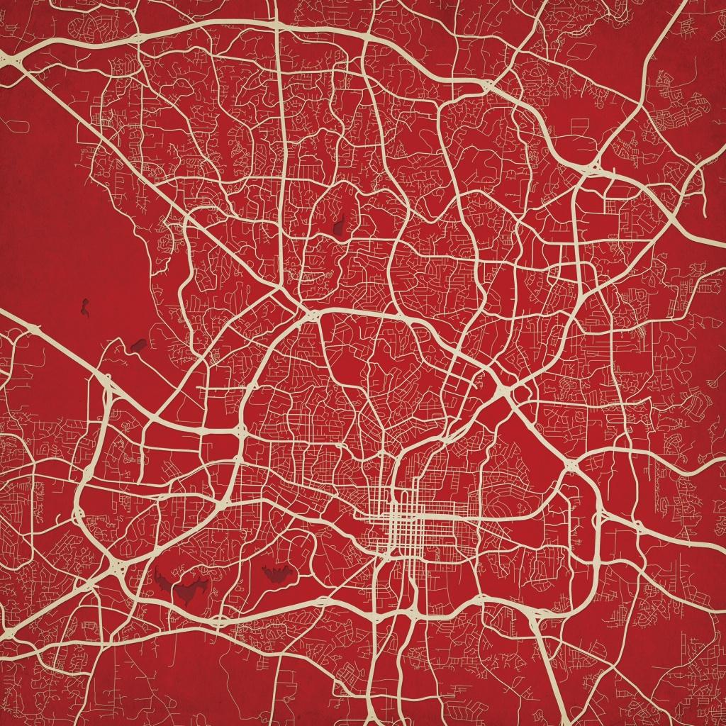 Raleigh, North Carolina Map Art - The Map Shop - Printable Map Of Raleigh Nc