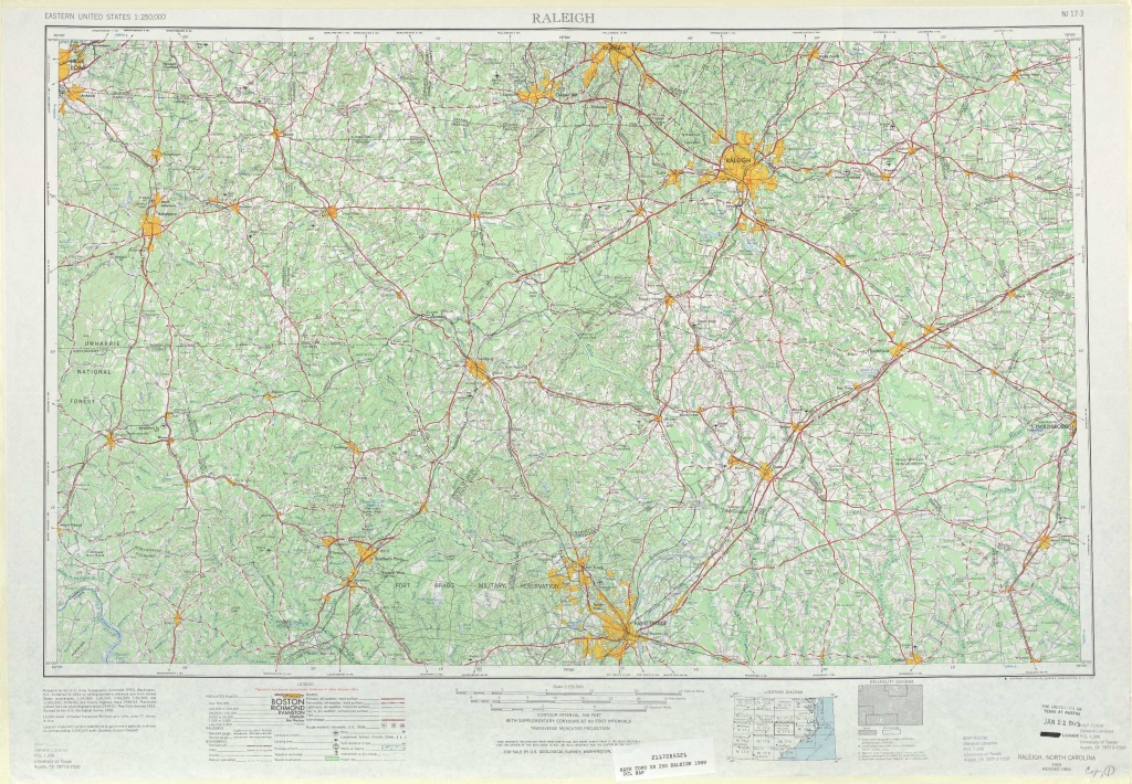 Raleigh Topographic Maps, Nc - Usgs Topo Quad 35078A1 At 1:250,000 Scale - Printable Map Of Raleigh Nc