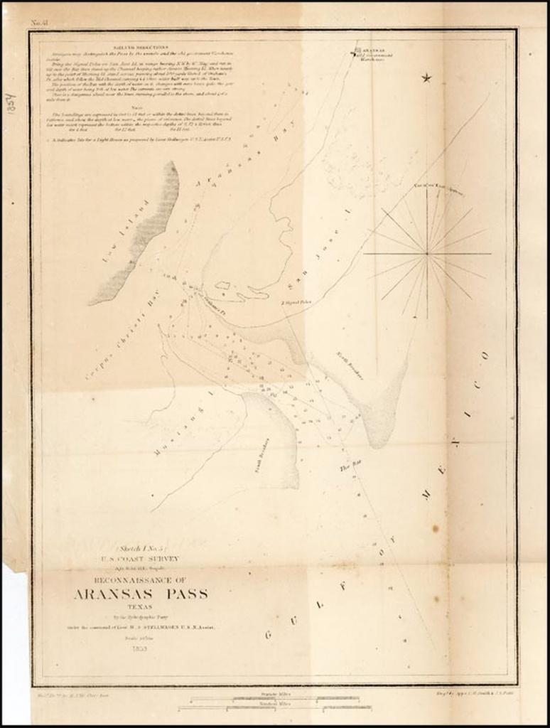 Reconnaissance Of Aransas Pass Texas . . . 1853 - Barry Lawrence - Map Of Aransas Pass Texas