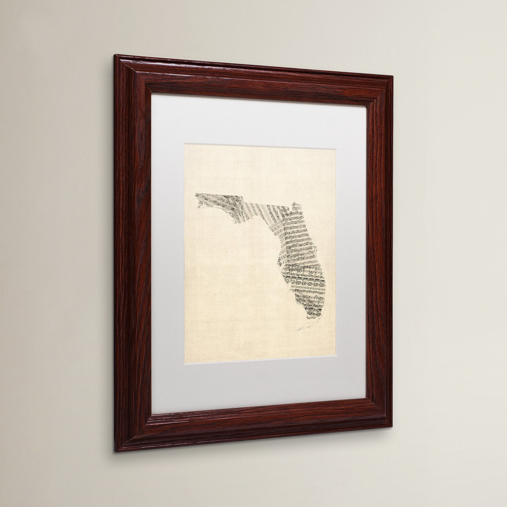 Red Barrel Studio Old Sheet Music Map Of Florida Framed Graphic Art - Map Of Florida Wall Art