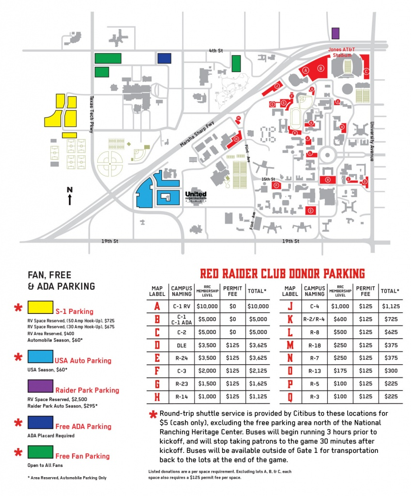 Red Raider Club | Football - Texas Tech Football Parking Map 2017