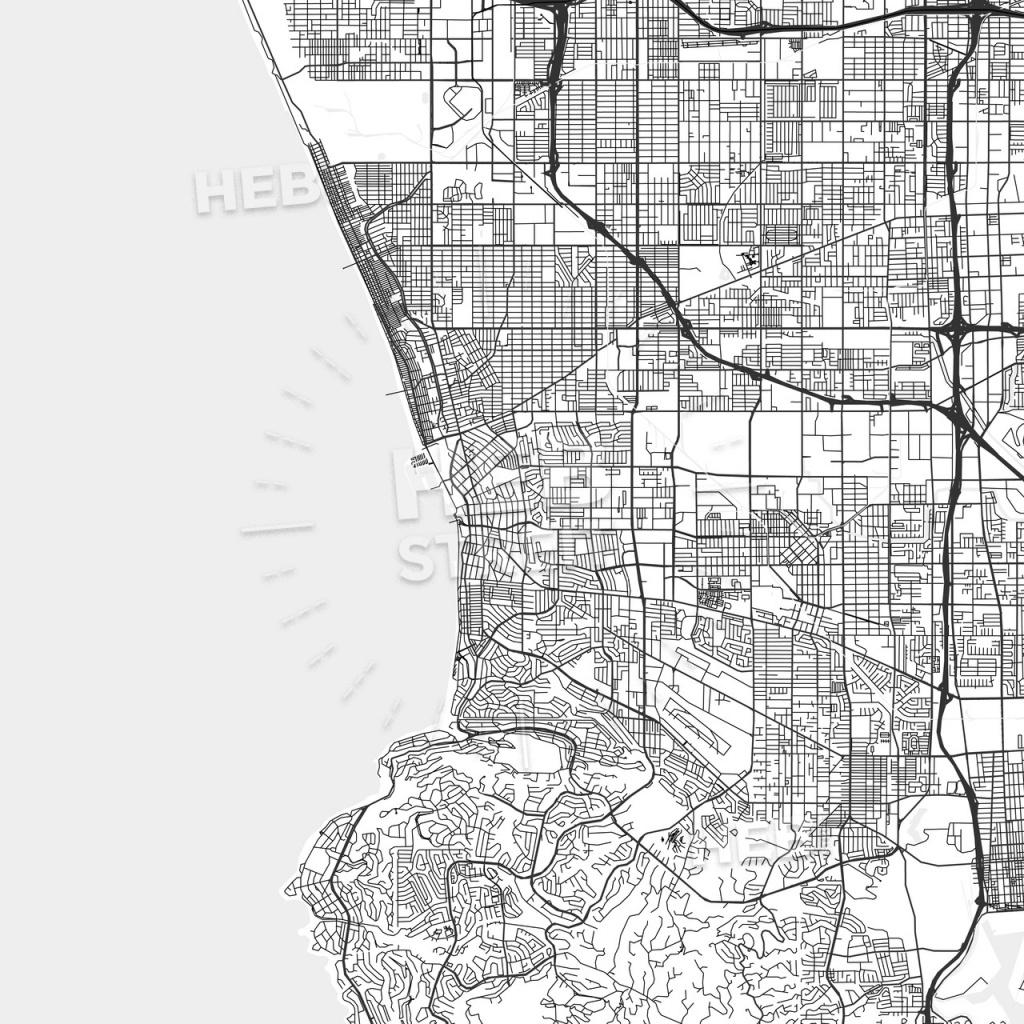 Redondo Beach, California - Area Map - Light - Redondo Beach California Map